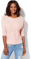 New York & Co. Shadow-Stripe Dolman Pullover Sweater