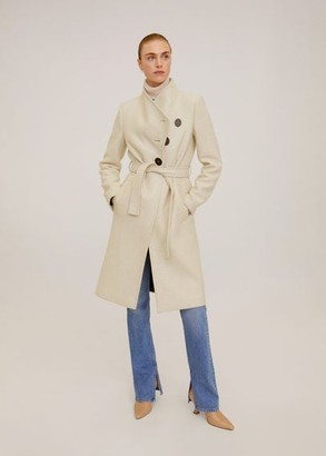 MANGO Wool double-breasted coat beige - XS - Women