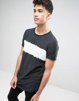 Pull&bear Longline T-shirt With Tie Dye Stripe In Black