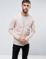 Asos Cotton Cardigan With Pockets In Dusty Pink