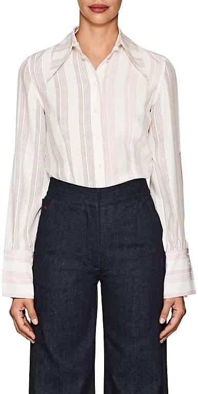 Victoria Beckham Women's Striped Silk Cutout-Sleeve Blouse