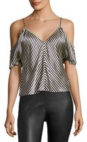 Alexander Wang Striped Silk Charmeuse Cold-Shoulder Top, Ecru