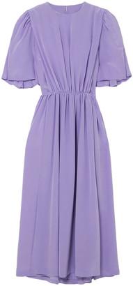 pushBUTTON Cape-effect Silk Crepe De Chine Midi Dress