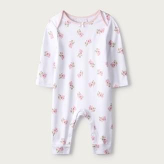 The White Company Eaden Floral Sleepsuit, White, Newborn