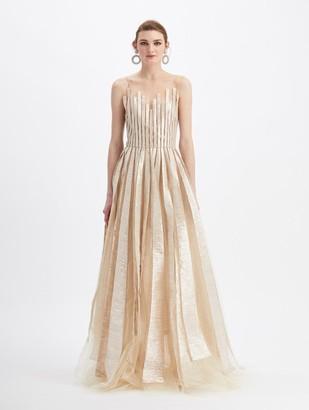 Oscar de la Renta Tulle Sleeveless Sheer Neck Embroidered Gown