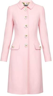 Dolce & Gabbana Flower Embellished Single Breasted Wool Crepe Coat - Womens - Pink