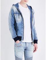Balmain Hooded Stretch-denim Jacket