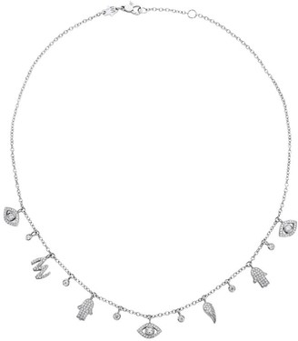 Netali Nissim White Gold and Diamond Charmed Necklace