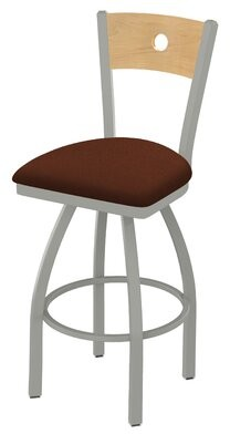"Holland Bar Stool Voltaire 25"" Swivel Bar Stool Base Finish: Anodized Nickel, Back Finish: Natural Maple, Upholstery: Rein Adobe"