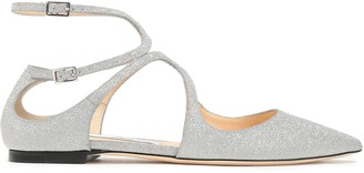 Jimmy Choo Lancer Cutout Glittered Leather Point-toe Flats