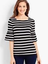 Talbots Striped Flounce-Sleeve Jersey Tee