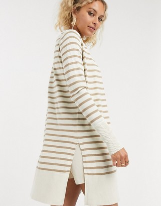 Noisy May striped cardigan in cream