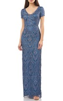 JS Collections Scalloped Lace & Satin Gown