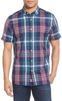 Jeremiah Brent Madras Plaid Sport Short Sleeve Regular Fit Shirt