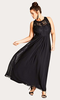 City Chic Panelled Bodice Maxi Dress in Black Size 14/X-Small Polyester