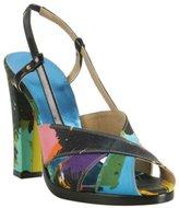 black satin multicolor floral printed sandals