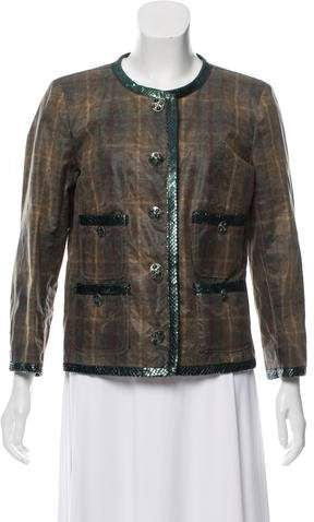 Chanel Paris-Edinburgh Python-Trimmed Jacket