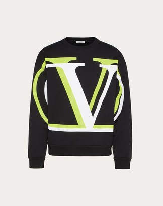 Valentino Crew-neck Sweatshirt With Vlogo Shadow Print Man Black/neon Yellow Cotton 94% M