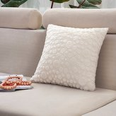 Venzhe Luxury Solid Plush Pillowcase Soft Plush Bedroom Decorative Pillow Case Square Pillow Cover 18x19 Inch - White