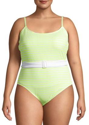 No Boundaries Juniors' Plus Size Yellow Stripe One Piece Swimsuit