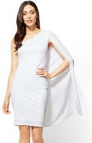 New York & Co. One-Shoulder Cape Dress