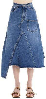 Loewe Asymmetric Denim Midi Skirt