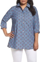 Foxcroft Plus Size Women's Jade Diamond Clip Dot Jacquard Shirt