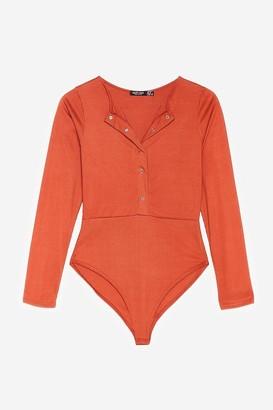 Nasty Gal Womens Keep Rib Up Petite High-Leg Bodysuit - Rust