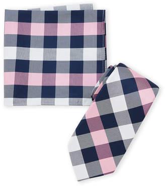 Nautica Pink Plaid Tie & Pocket Square Set