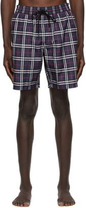 Burberry Navy Check Swim Shorts