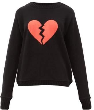 The Elder Statesman Broken Heart-intarsia Cashmere Sweater - Womens - Black Multi