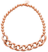 Lord & Taylor 18K Rose Gold Beaded Curbed Chain Stretchy Bracelet