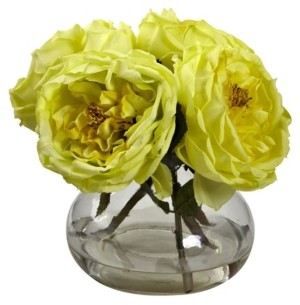 Nearly Natural Fancy Rose w/Vase