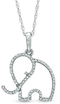 Zales 1/7 CT. T.W. Diamond Outline Elephant Pendant in 10K White Gold