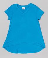 Erge Turquoise V-Neck Hi-Low Tee - Girls