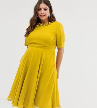 ASOS DESIGN Curve crop top embellished neckline mini dress