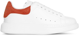 Alexander McQueen White and coral suede classic sneakers