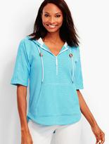 Talbots Terry Pullover Hoodie-Caribbean Stripes