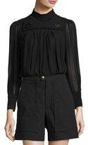 Isabel Marant Embroidered Mock-Neck Tunic Blouse, Black