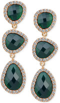 T Tahari Gold-Tone Emerald Stone and Crystal Drop Earrings