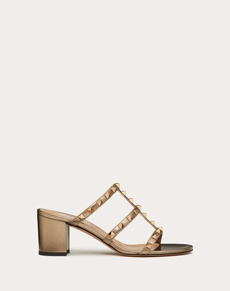 Valentino Rockstud Metallic Calfskin Leather Slide Sandal 60 Mm Women Skin Lambskin 100% 37