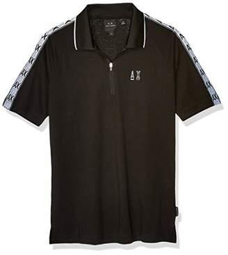 Armani Exchange A|X Men's Cotton Jersey Zip Polo with Stripe Logo Sleeve