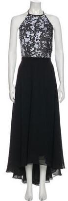 Carmen Marc Valvo Halterneck Midi Length Dress Black