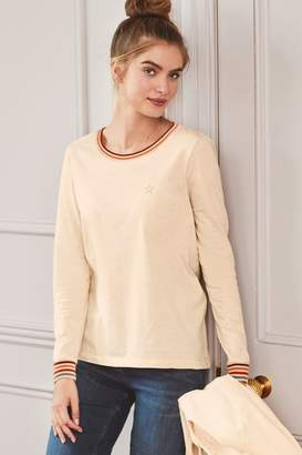 Next Womens Oatmeal Long Sleeve Top - Natural