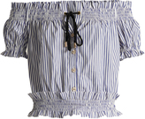 Caroline Constas Off-the-shoulder striped cotton-oxford top