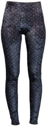 J V D B Larvotto Tantric-Silver-Black High Waisted Leggings In J-V-D-B Ultra-Fine Liquid Shimmer Compression Fabric