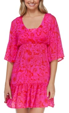 Thumbnail for your product : Raisins Juniors' Printed Making Waves Tavarua Dress Cover-Up Women's Swimsuit