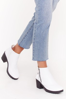 Nasty Gal Womens One Night Stand Zip Ankle Boots - White - 3
