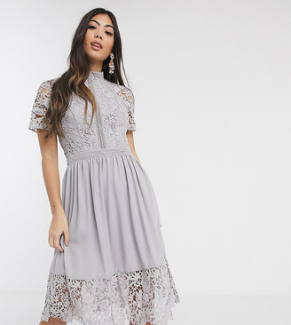 Chi Chi London lace detail skate dress in dove grey