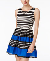 Secret Charm Juniors' Striped Fit & Flare Necklace Dress